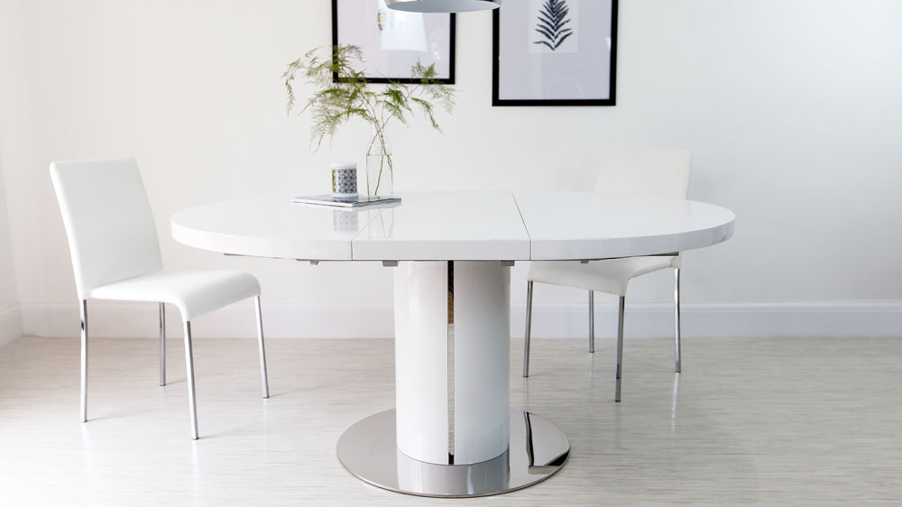 Creative of Modern Round White Dining Table White Gloss Round Extending Dining Table Round Designs