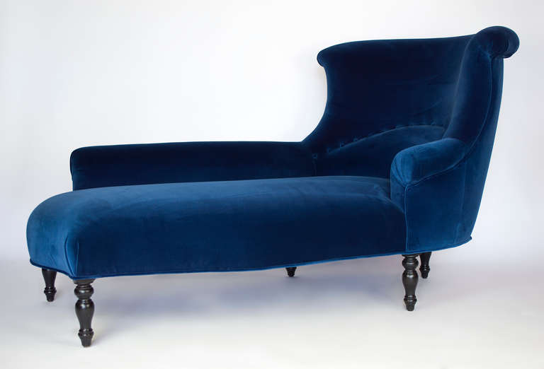 Creative of Navy Blue Velvet Chaise Lounge Great Blue Chaise Lounge Napoleon Iii Chaise Longue At 1stdibs