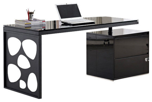 Creative of Office Black Desk Jm Furniture Kd01r Modern Office Desk In Black Contemporary