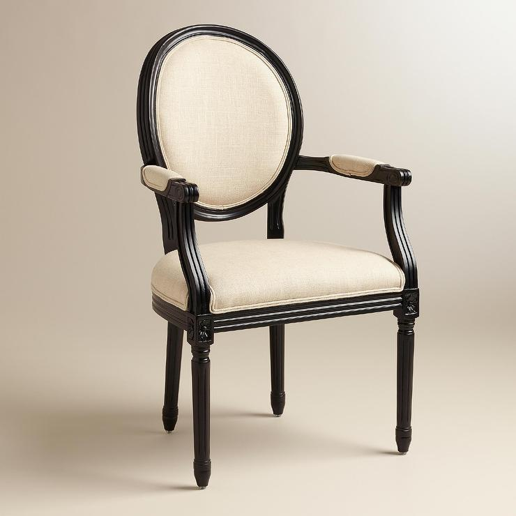 Creative of Round Back Dining Chairs With Arms Linen Paige Round Back Black Frame Ivory Armchair