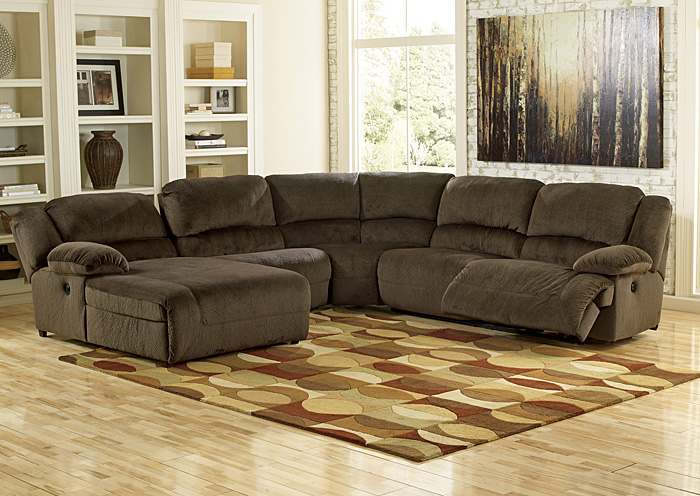 Creative of Sectional With Recliner And Chaise Lounge The Room Furniture Toletta Chocolate Left Facing Chaise End