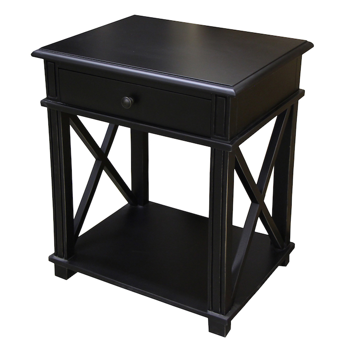 Creative of Small Black Night Table Likable Black Wooden Bedside Table Idea With Extraordinary Wood