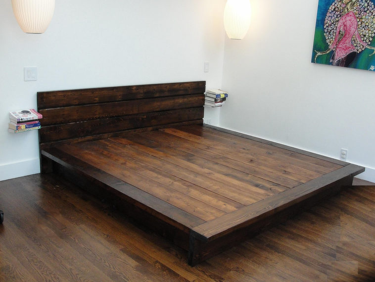 Creative of Solid King Bed Frame Furniture Diy Solid Wood Flat California King Platform Bed Frame