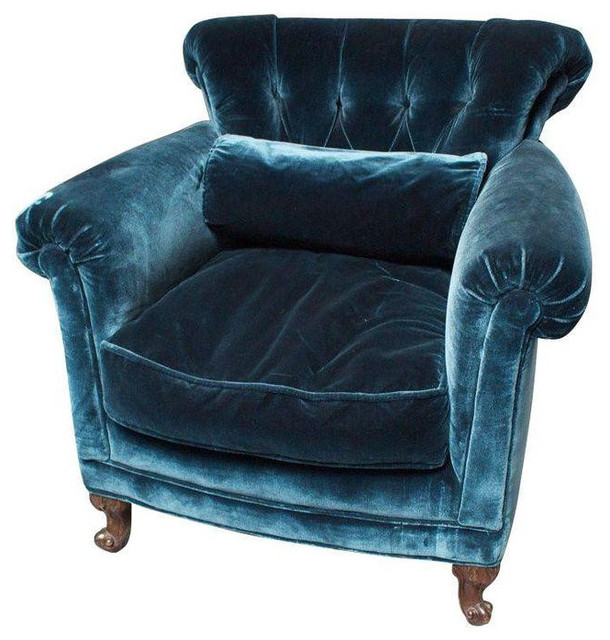 Creative of Teal Velvet Accent Chair Peacock Blue Silk Velvet Club Chair 1650 Est Retail 850 On