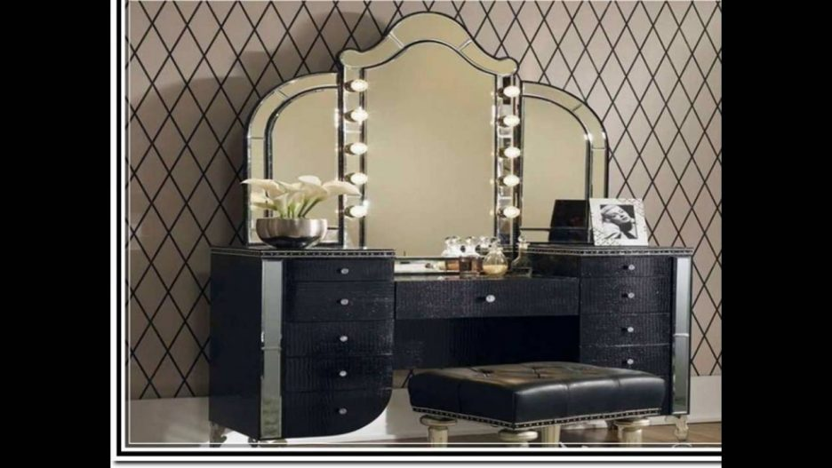 Creative of Vanity Makeup Desk With Mirror Furniture Black Makeup Table With Lighted Mirror And Small Fabric