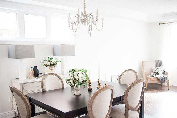 Creative of White And Brown Dining Chairs Dark Brown Dining Table With Vintage French Round Fabric Side
