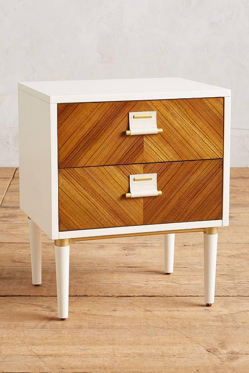 Creative of White And Brown Nightstand And White Geometric Marquetry Nightstand