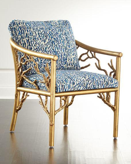 Creative of White And Gold Accent Chair Tree Motif Base Blue Patterned Seat Accent Chair