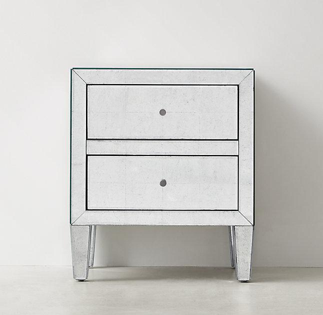 Creative of White And Silver Nightstand 2 Drawer Silver Nightstand