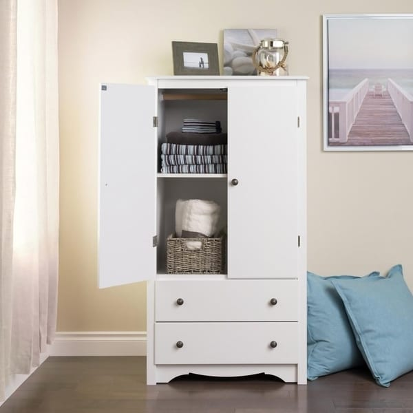 Creative of White Armoire With Drawers Winslow White 2 Drawer Armoire Free Shipping Today Overstock
