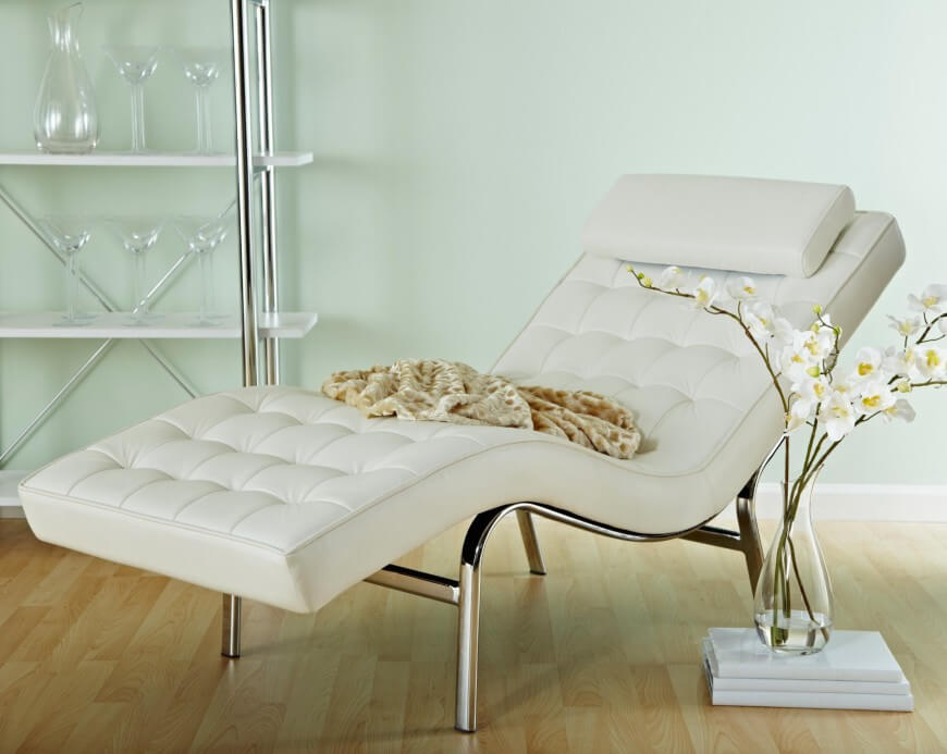 Creative of White Leather Chaise Lounge White Leather Chaise Rich In Style Marku Home Design