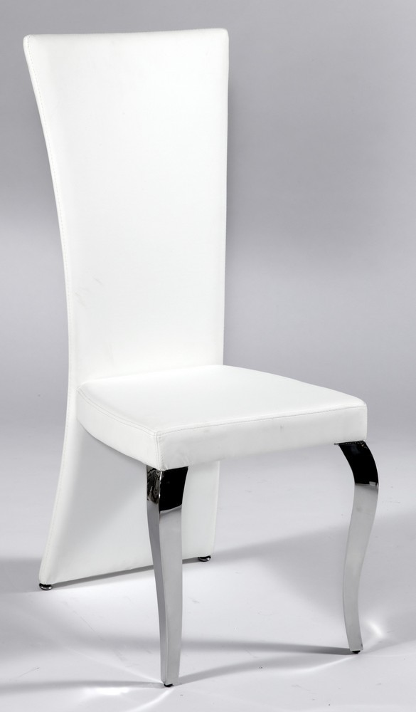 Creative of White Leather High Back Dining Chairs White Leather Seat And Back Chair With Polished Chrome Legs San