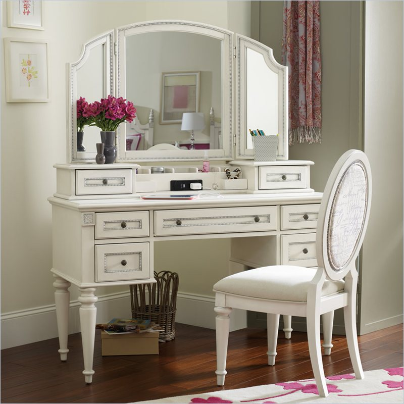Creative of White Vanity Desk With Mirror Hooker Furniture Opus Designs Claire Vanity Desk With Hutch And