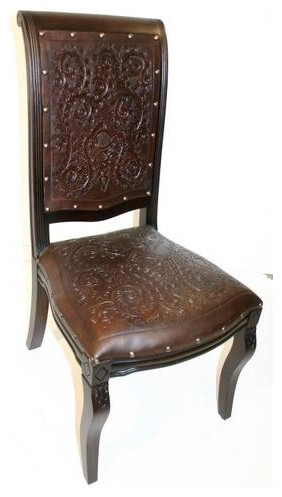 Creative of Wood Dining Chairs With Leather Seats Colonial Imperial Side Dining Chair W Tooled Leather Seat Back