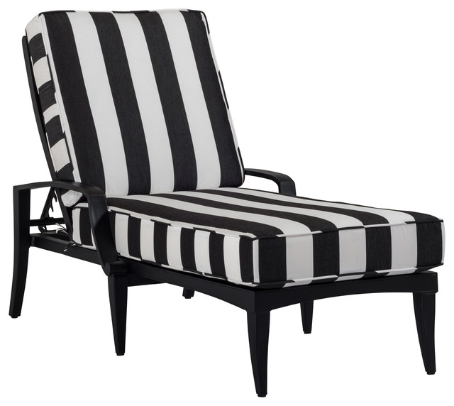 Elegant Black And White Chaise Bellmore Deep Cushion Chaise Lounge Contemporary Outdoor