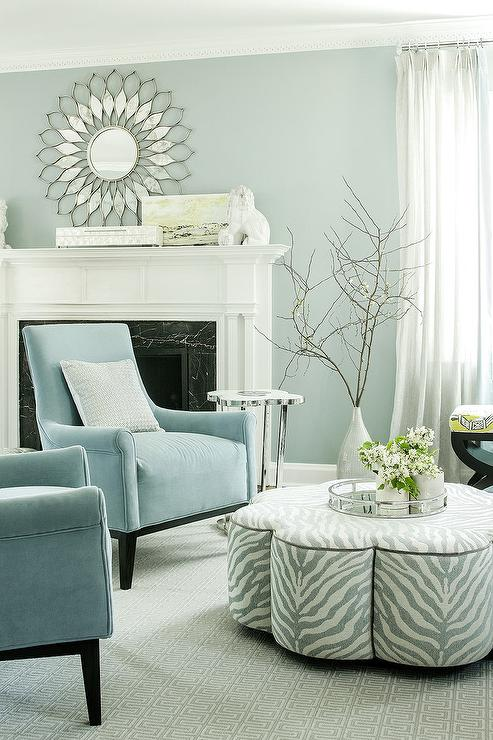 Elegant Blue And Gray Accent Chairs Powder Blue Velvet Accent Chairs With Gray Clover Ottoman Cocktail