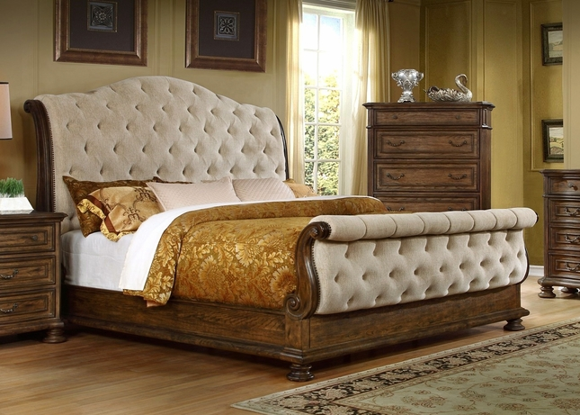Elegant California King Tufted Sleigh Bed Traditional Button Tufted Sleigh King Bed In A Pecan Finish