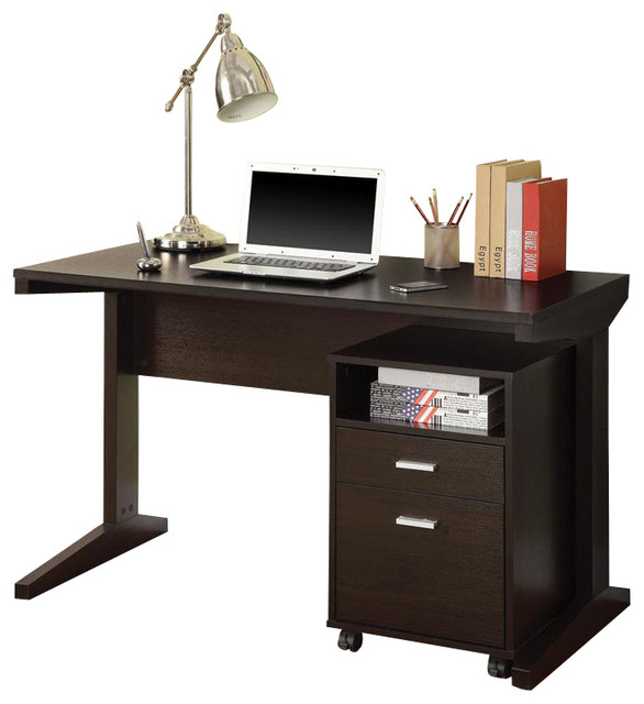 Elegant Computer Cabinet Desk Casual Cappuccino Computer Desk With Open Shelf Drawer Rolling