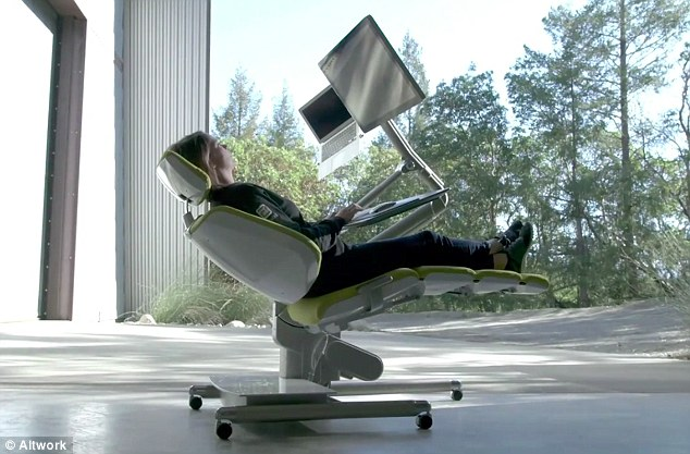 Elegant Crazy Computer Desk Flexible Altwork Station Lets You Sit Stand And Even Lie Down As