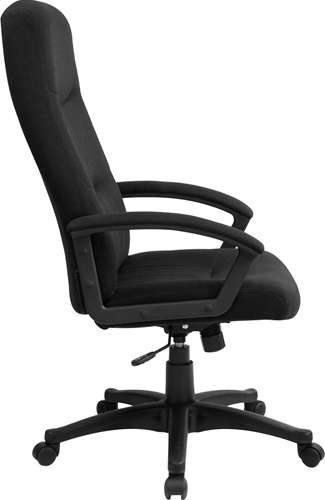 Elegant Fabric Office Chairs Black Fabric Upholstered High Back Executive Swivel Office Chair