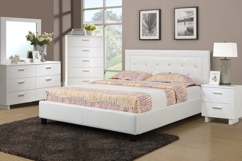 Elegant Full Queen Bedroom Sets Poundex F9247 White Platform Queen Bedroom Set
