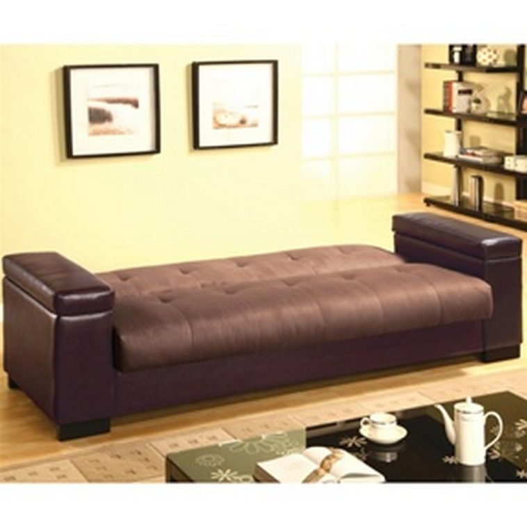 Elegant Futon Bed With Storage Furniture Brown Convertible Futon Sofa Bed With Storage Added