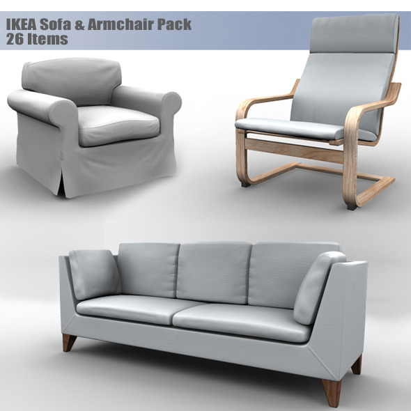Elegant Ikea Sofas And Armchairs Ikea Sofa Armchair Pack Muhsam 3docean