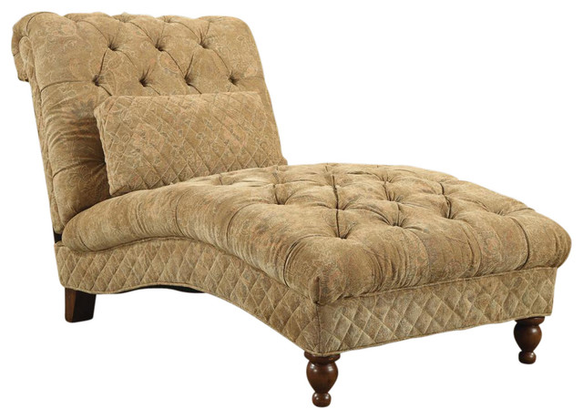 Elegant Indoor Upholstered Chaise Lounge Elegant Traditional Style Upholstered Curved Golden Toned Accent