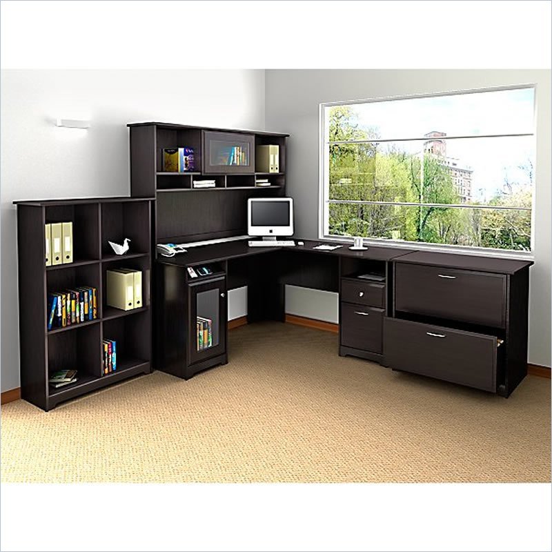 Elegant Large Desk With Storage Shaped Computer Desk With Hutch For Large Home Office