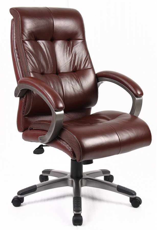 Elegant Leather Computer Chair Brown Leather Office Chair