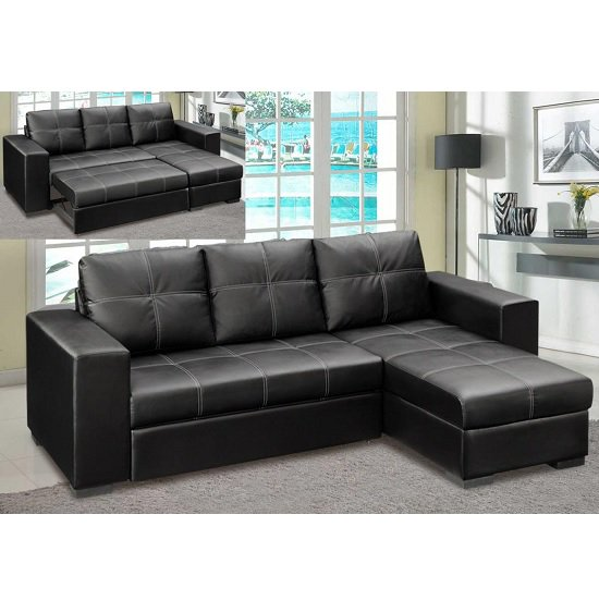 Elegant Leather Corner Sofa Bed Corner Sofa Bed In Black Faux Leather With Storage