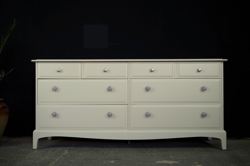 Elegant Long Chest Of Drawers Stag Long Eight Drawer Chest Painted Vintage Antique Farmhouse