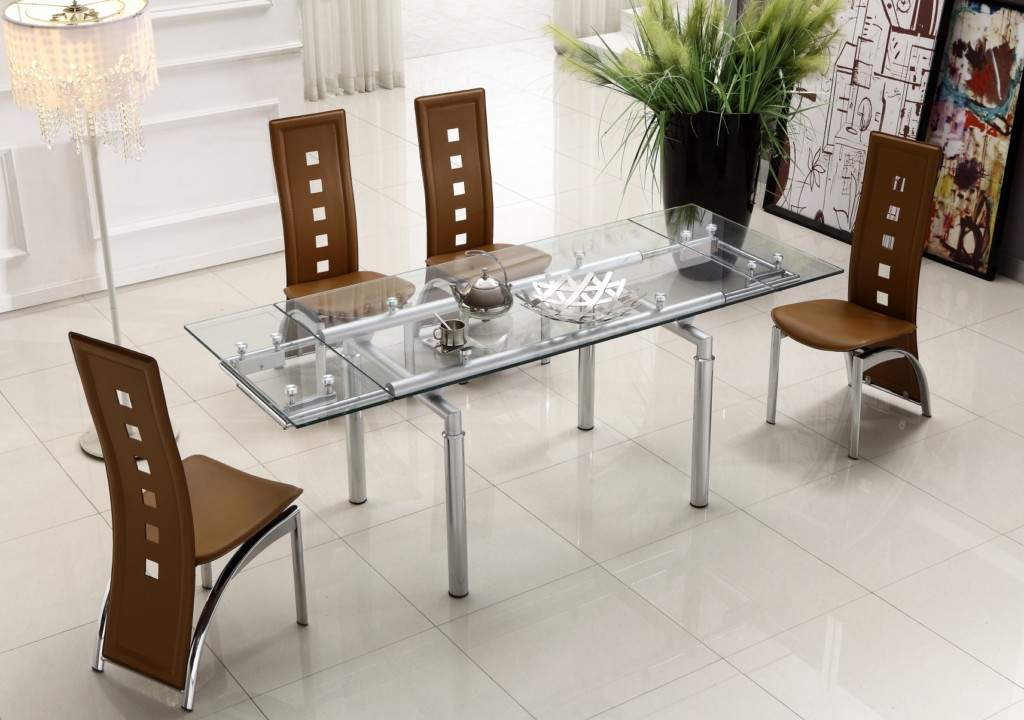 Elegant Modern Glass Dining Table Set Extendable Clear Glass Top Leather Modern Dining Table Sets