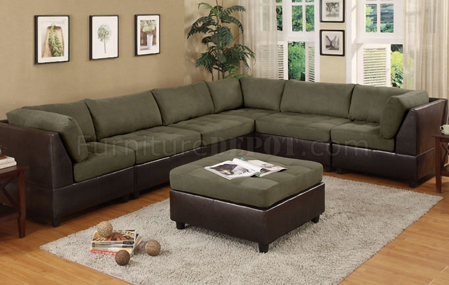 Elegant Modular Sectional Sofa Microfiber Sage Microfiber Plush Contemporary 6pc Modular Sectional Sofa