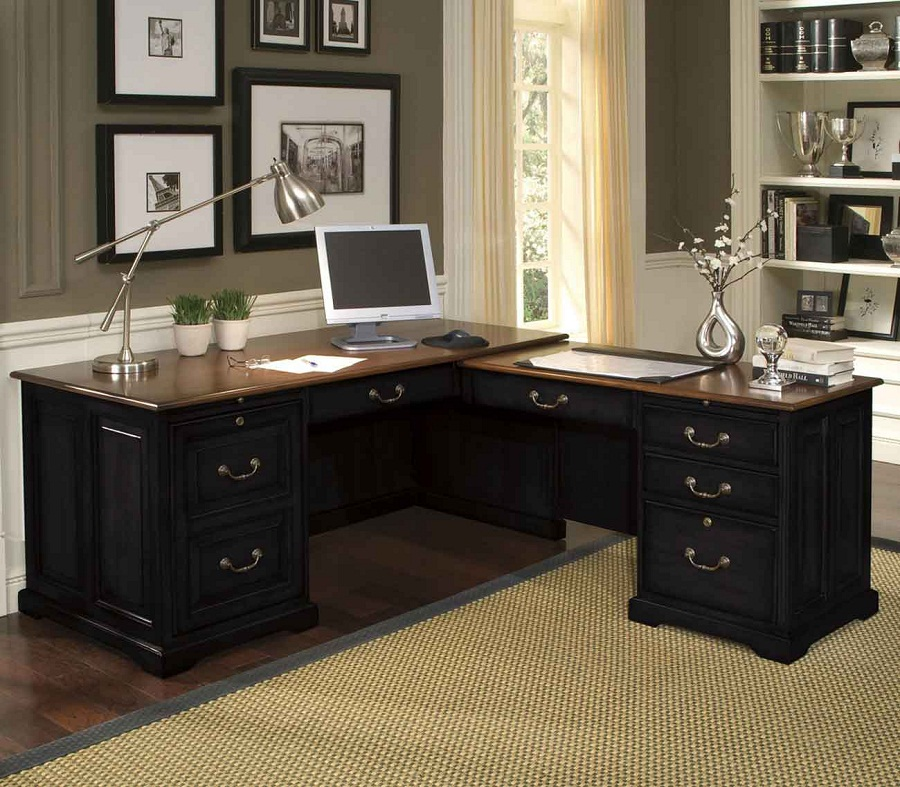 Elegant Office Black Desk Wood Black L Shaped Desk Black L Shaped Desk In Handy Ashley