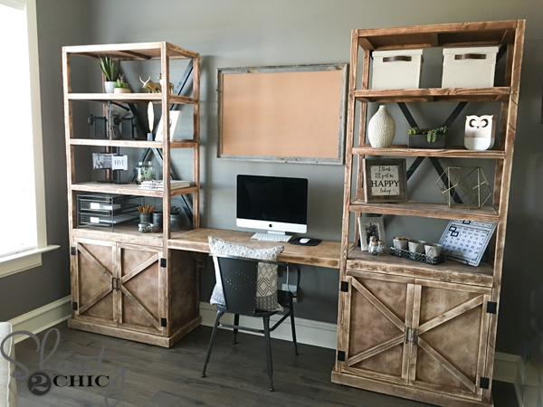 Elegant Office Desk With Bookcase Diy Office Desk System Shanty 2 Chic