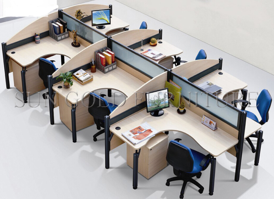 Elegant Office Workstation Computer New Style Modern 6 People Office Used Open Wood Glass Workstation
