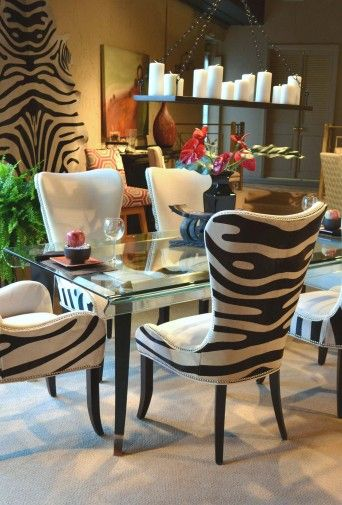 Elegant Printed Upholstered Dining Chairs Animal Print Dining Chairs