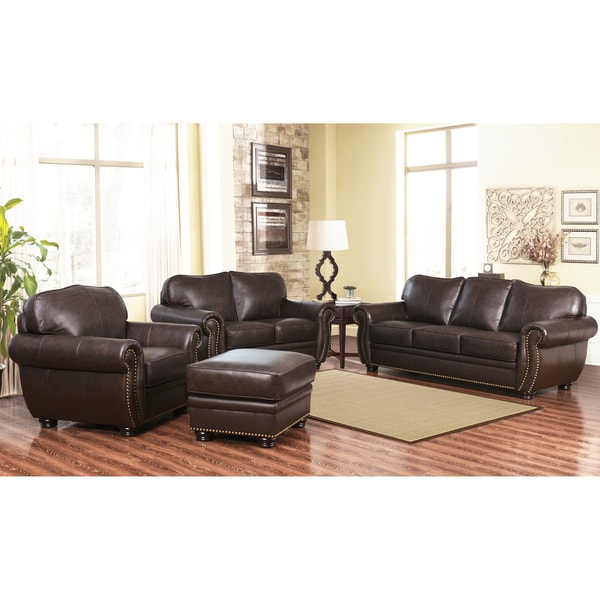 Elegant Sofa Loveseat And Ottoman Set Abson Richfield 4 Piece Premium Top Grain Leather Sofa Loveseat