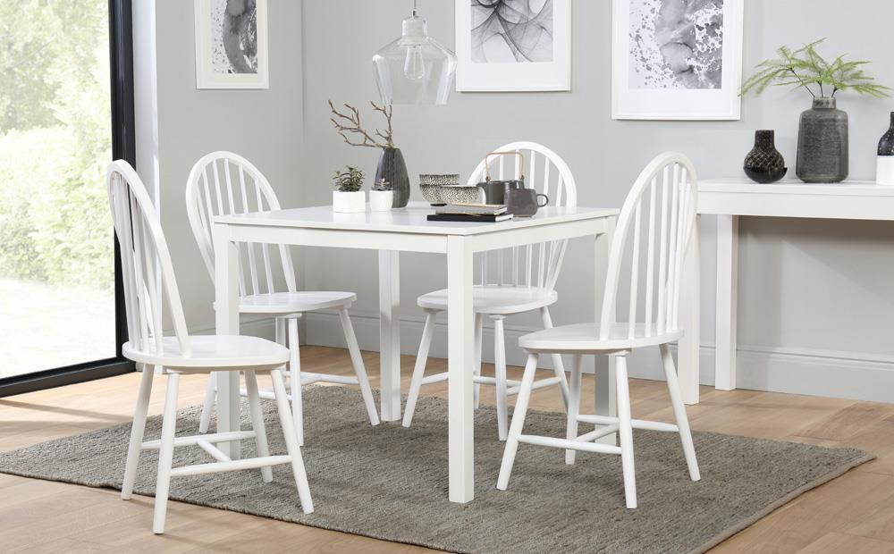 Elegant Square White Dining Table Dining Room Outstanding Milton Square White Table And 4 Windsor