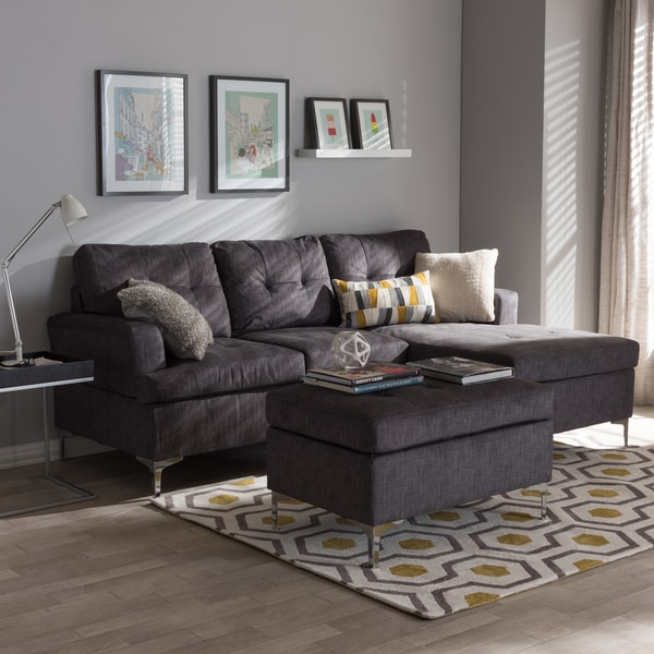 Elegant Three Piece Sectional Couch Baxton Studio Haemon Modern And Contemporary Grey Fabric