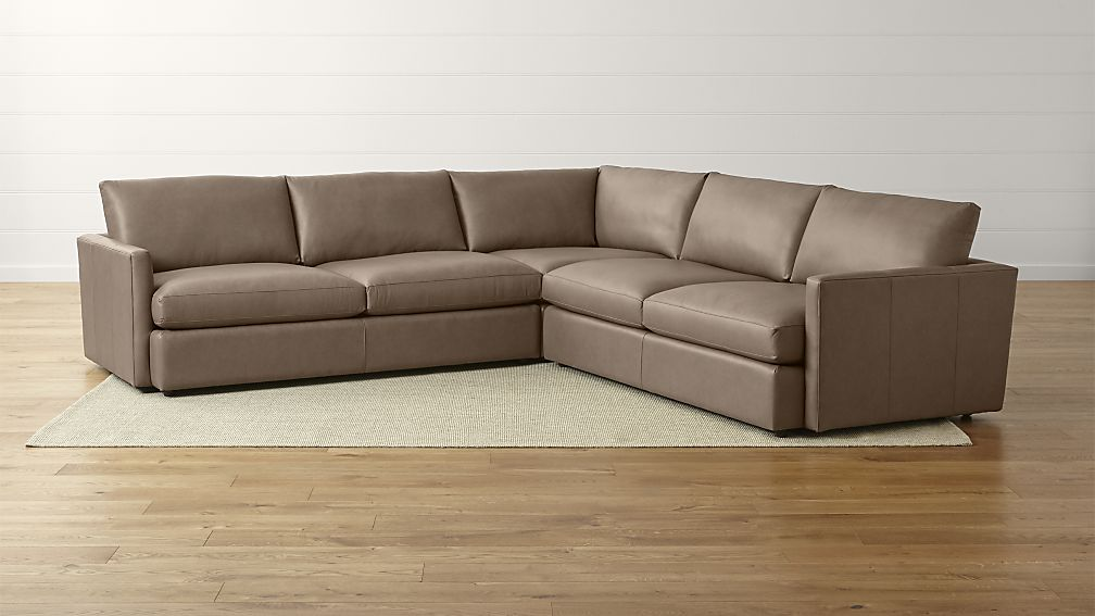 Elegant Three Piece Sectional Couch Lounge Ii Three Piece Leather Sectional Sofa Crate And Barrel
