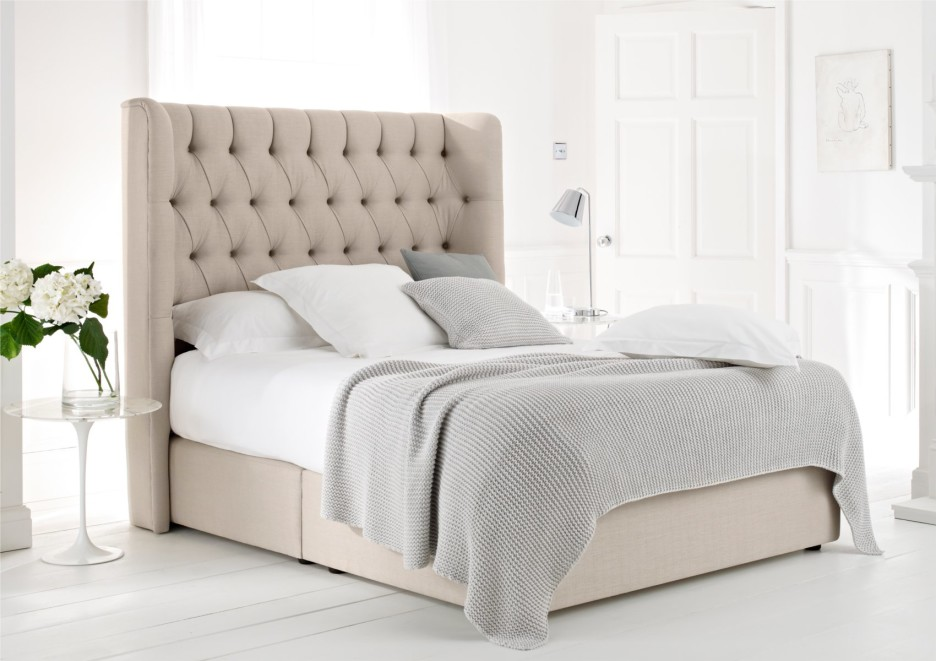 Elegant Tufted Headboard Bed Frame Bed Frame With Cushioned Headboard Bed Mattress
