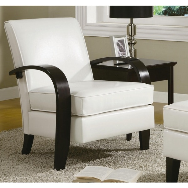 Elegant White Accent Chairs With Arms Wonda White Bonded Leather Accent Chair With Wood Arms Free