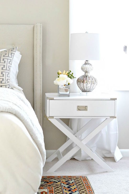 Elegant White And Silver Nightstand White X Based Campaign Nightstand Transitional Bedroom Behr
