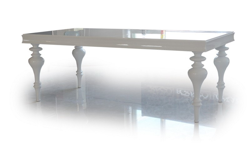 Elegant White Lacquer Dining Table Modern White Lacquer Transitional Dining Table