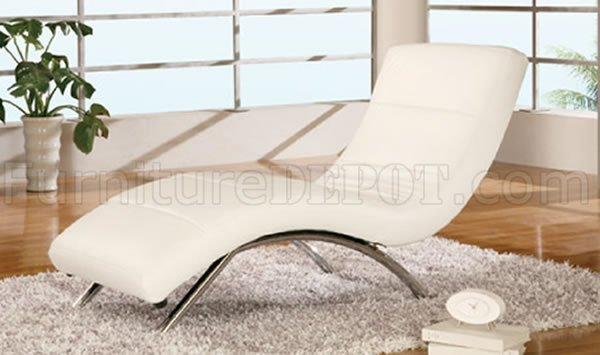 Elegant White Leather Chaise Lounge White Leather Upholstery Contemporary Chaise Lounge