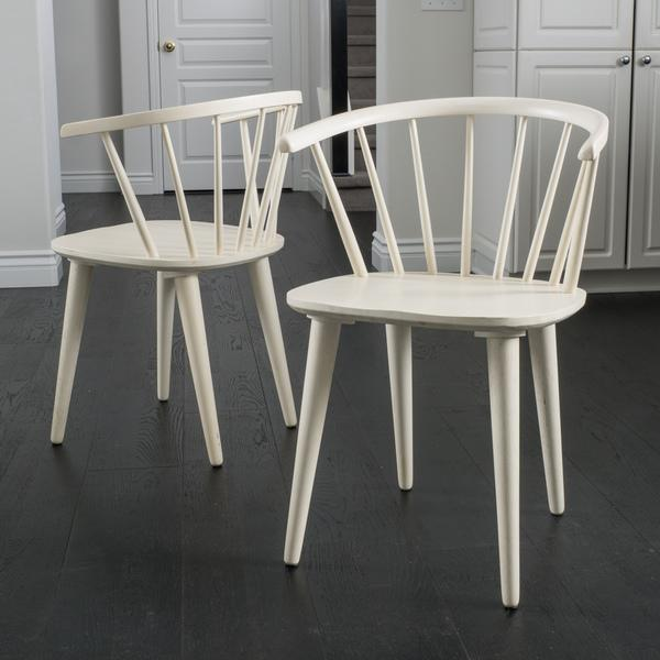 Elegant Wood And White Dining Chairs Knight Home Countryside Rounded Back Spindle Off White Wood Dining
