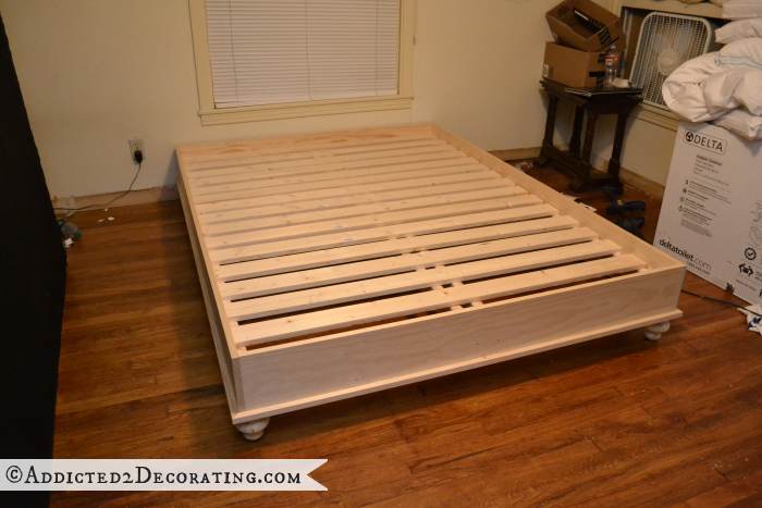 Fabulous Add Slats To Bed Frame Diy Stained Wood Raised Platform Bed Frame Part 1