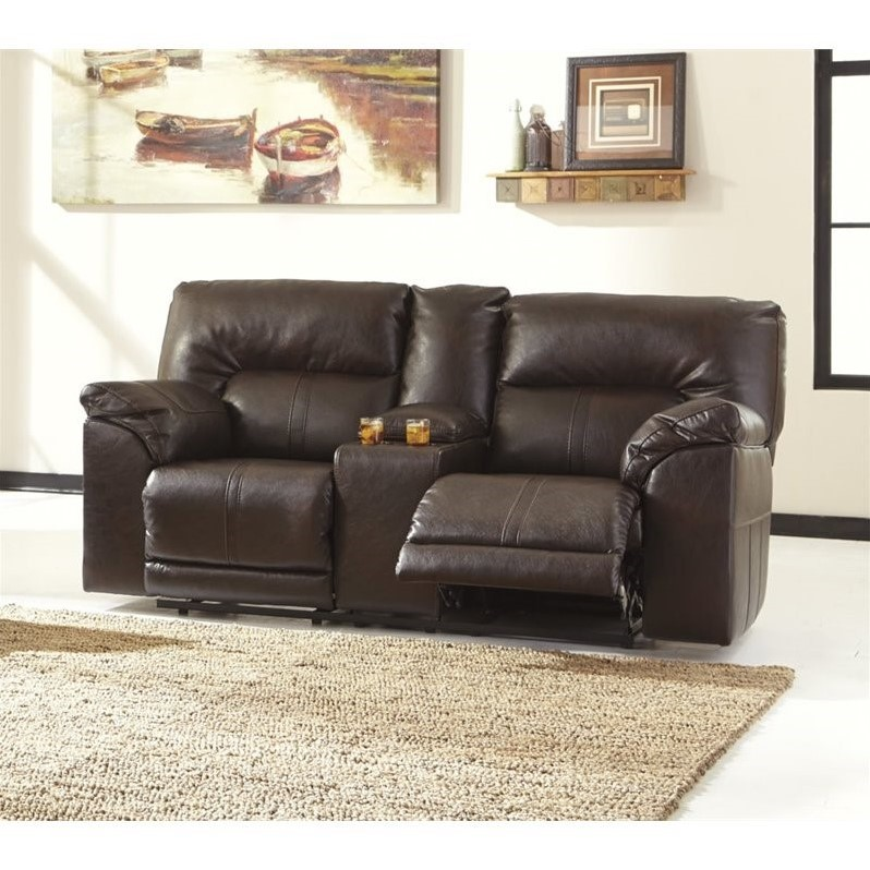 Fabulous Ashley Leather Reclining Loveseat Ashley Barrettsville Leather Reclining Console Loveseat In